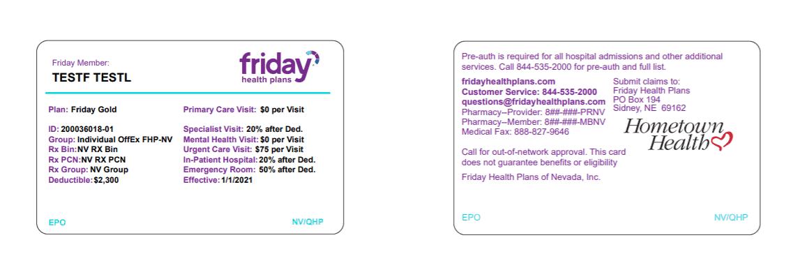 friday health plans sample id card